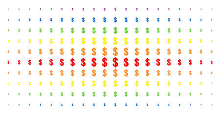 Dollar icon spectral halftone pattern. Vector dollar pictograms are organized into halftone grid with vertical rainbow colors gradient. Designed for backgrounds, covers,