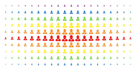 Engineer icon spectrum halftone pattern. Vector engineer shapes are organized into halftone grid with vertical rainbow colors gradient. Constructed for backgrounds, covers,