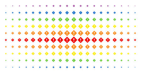 Error icon spectrum halftone pattern. Vector error shapes are arranged into halftone matrix with vertical spectrum gradient. Constructed for backgrounds, covers, templates and abstract compositions.