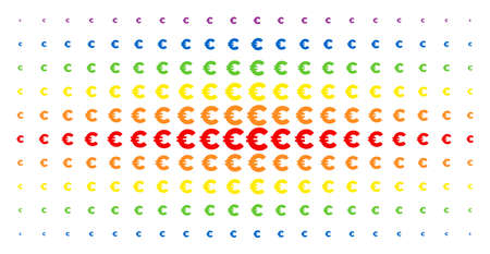 Euro icon spectral halftone pattern. Vector euro items are organized into halftone grid with vertical rainbow colors gradient. Designed for backgrounds, covers, templates and abstraction concepts.