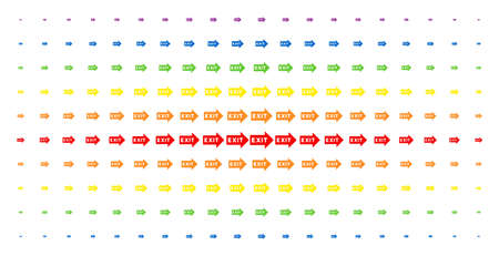 Exit arrow icon spectrum halftone pattern. Vector exit arrow pictograms are arranged into halftone grid with vertical rainbow colors gradient. Designed for backgrounds, covers, Illustration