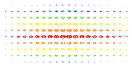 Eye icon rainbow colored halftone pattern. Vector eye pictograms are arranged into halftone grid with vertical spectral gradient. Designed for backgrounds, covers, templates and abstraction concepts.
