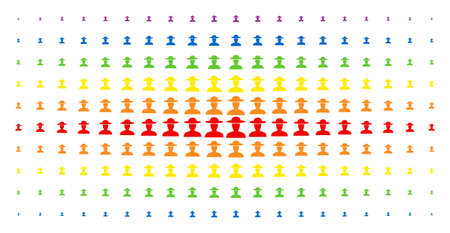 Farmer person icon spectrum halftone pattern. Vector farmer person items are arranged into halftone matrix with vertical spectral gradient. Constructed for backgrounds, covers,