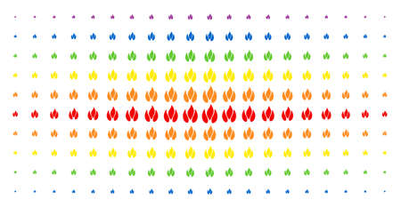 Fire icon spectrum halftone pattern. Vector fire pictograms are organized into halftone array with vertical spectral gradient. Designed for backgrounds, covers, templates and abstract effects. Illustration