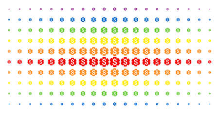 Financial settings gear icon rainbow colored halftone pattern. Vector financial settings gear objects are arranged into halftone array with vertical spectral gradient. Designed for backgrounds, Illustration