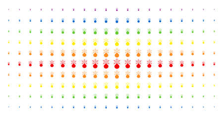 Fireworks detonator icon spectrum halftone pattern. Vector fireworks detonator objects are organized into halftone matrix with vertical spectrum gradient. Constructed for backgrounds, covers,