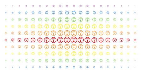 Gauge icon spectral halftone pattern. Vector gauge items are organized into halftone grid with vertical rainbow colors gradient. Designed for backgrounds, covers, templates and abstract effects.