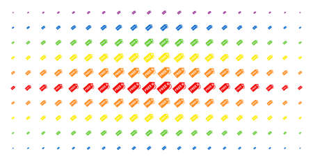 Free tag icon rainbow colored halftone pattern. Vector free tag items are arranged into halftone grid with vertical rainbow colors gradient. Designed for backgrounds, covers, Illustration
