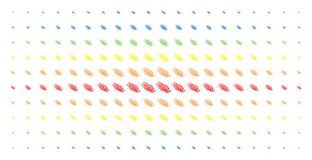 Galaxy icon spectral halftone pattern. Vector galaxy objects are organized into halftone array with vertical rainbow colors gradient. Designed for backgrounds, covers,