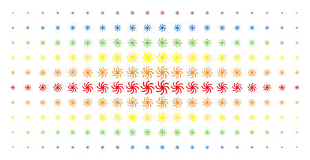 Galaxy icon spectrum halftone pattern. Vector galaxy pictograms are arranged into halftone matrix with vertical spectral gradient. Constructed for backgrounds, covers,