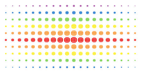 Globe icon spectrum halftone pattern. Vector globe objects are arranged into halftone matrix with vertical spectral gradient. Constructed for backgrounds, covers, templates and abstract concepts.