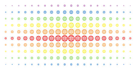Globe icon rainbow colored halftone pattern. Vector globe pictograms are organized into halftone array with vertical spectral gradient. Designed for backgrounds, covers, Illustration