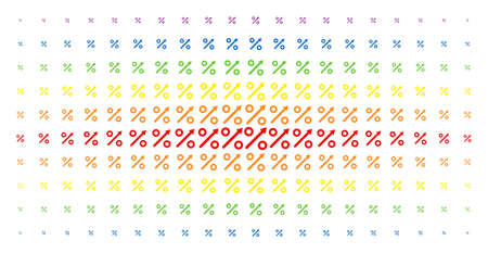 Growing percent icon spectrum halftone pattern. Vector growing percent objects are organized into halftone array with vertical spectrum gradient. Designed for backgrounds, covers,