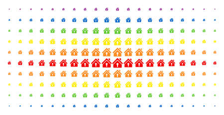 Home keyhole icon rainbow colored halftone pattern. Vector home keyhole symbols are organized into halftone grid with vertical rainbow colors gradient. Constructed for backgrounds, covers,