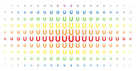 Horseshoe magnet icon rainbow colored halftone pattern. Vector horseshoe magnet pictograms are organized into halftone grid with vertical rainbow colors gradient. Constructed for backgrounds, covers,
