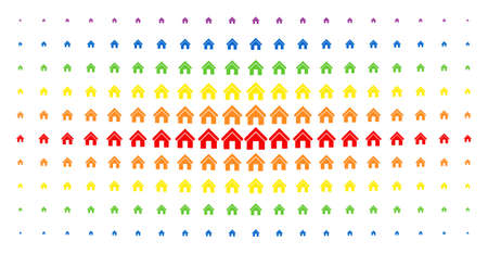 Home icon spectral halftone pattern. Vector home pictograms are arranged into halftone array with vertical spectral gradient. Designed for backgrounds, covers, templates and abstract effects.