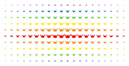 Horned helmet icon spectrum halftone pattern. Vector horned helmet pictograms are organized into halftone grid with vertical rainbow colors gradient. Designed for backgrounds, covers,
