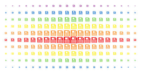 Floppy disk icon rainbow colored halftone pattern. Vector floppy disk objects are organized into halftone array with vertical spectral gradient. Designed for backgrounds, covers,