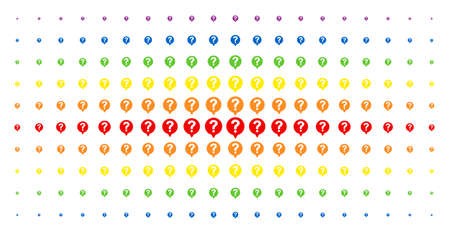 Help balloon icon rainbow colored halftone pattern. Vector help balloon pictograms are arranged into halftone matrix with vertical spectrum gradient. Constructed for backgrounds, covers, Illustration
