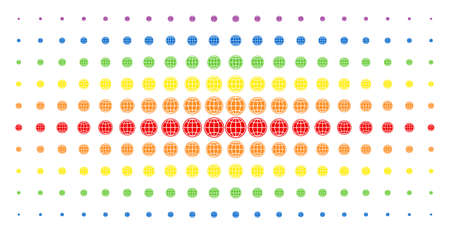 Internet icon spectrum halftone pattern. Vector internet items are arranged into halftone array with vertical spectral gradient. Constructed for backgrounds, covers,
