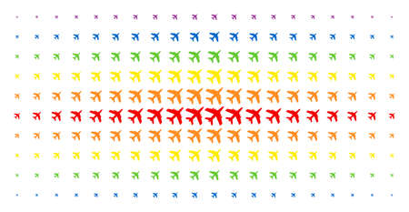 Jet plane icon spectrum halftone pattern. Vector jet plane shapes are arranged into halftone grid with vertical spectrum gradient. Designed for backgrounds, covers, templates and abstract concepts.