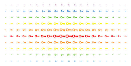 Key icon spectral halftone pattern. Vector key symbols are arranged into halftone matrix with vertical spectral gradient. Designed for backgrounds, covers, templates and abstract concepts. Illustration