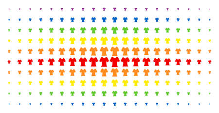 Lady t-shirt icon spectral halftone pattern. Vector lady t-shirt symbols are organized into halftone array with vertical rainbow colors gradient. Constructed for backgrounds, covers,
