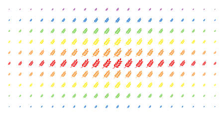 Leaf branch icon rainbow colored halftone pattern. Vector leaf branch shapes are organized into halftone matrix with vertical rainbow colors gradient. Designed for backgrounds, covers,
