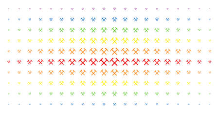 Mining hammers icon spectral halftone pattern. Vector mining hammers symbols are arranged into halftone array with vertical spectrum gradient. Constructed for backgrounds, covers,