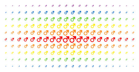 Mars symbol icon spectrum halftone pattern. Vector mars symbol pictograms are arranged into halftone matrix with vertical rainbow colors gradient. Designed for backgrounds, covers, Illustration