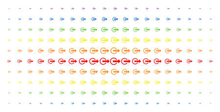 Logout icon spectrum halftone pattern. Vector logout pictograms are organized into halftone array with vertical rainbow colors gradient. Designed for backgrounds, covers, Illustration