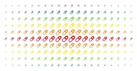 Love granule icon rainbow colored halftone pattern. Vector love granule pictograms are arranged into halftone grid with vertical spectrum gradient. Constructed for backgrounds, covers,