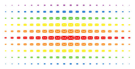 Mail envelope icon rainbow colored halftone pattern. Vector mail envelope objects are organized into halftone matrix with vertical spectrum gradient. Constructed for backgrounds, covers, Illustration
