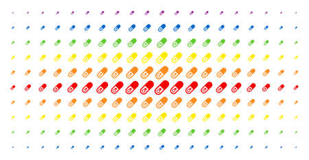 Male power pill icon rainbow colored halftone pattern. Vector male power pill pictograms are arranged into halftone array with vertical spectrum gradient. Constructed for backgrounds, covers,