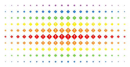 Problem icon spectrum halftone pattern. Vector problem symbols are arranged into halftone matrix with vertical rainbow colors gradient. Constructed for backgrounds, covers,