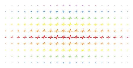 Pulse icon spectrum halftone pattern. Vector pulse pictograms are arranged into halftone array with vertical rainbow colors gradient. Constructed for backgrounds, covers, Illustration