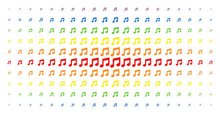 Music notes icon spectral halftone pattern. Vector music notes symbols are organised into halftone matrix with vertical rainbow colours gradient. Designed for backgrounds, covers, Illustration
