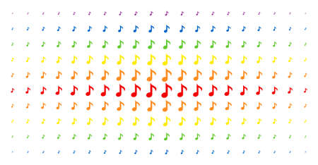 Musical note icon rainbow coloured halftone pattern. Vector musical note objects are arranged into halftone array with vertical rainbow colours gradient. Constructed for backgrounds and covers Illustration