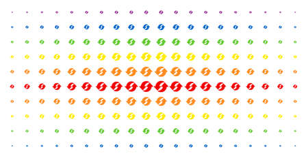Refresh icon spectrum halftone pattern. Vector refresh symbols are arranged into halftone matrix with vertical spectral gradient. Designed for backgrounds, covers, templates and abstract compositions.