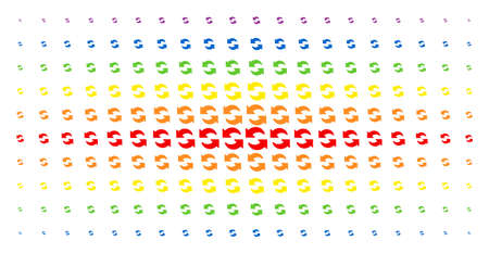 Refresh icon spectrum halftone pattern. Vector refresh pictograms are organized into halftone grid with vertical spectral gradient. Constructed for backgrounds, covers,