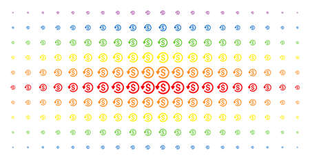 Refund icon rainbow colored halftone pattern. Vector refund items are arranged into halftone grid with vertical rainbow colors gradient. Constructed for backgrounds, covers,
