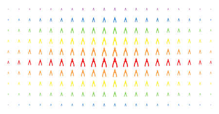 Pliers icon rainbow coloured halftone pattern. Vector pliers items are arranged into halftone array with vertical spectrum gradient. Designed for backgrounds, covers, templates and abstract concepts. Vettoriali