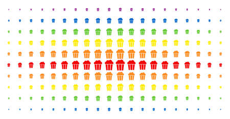 Popcorn bucket icon spectrum halftone pattern. Vector popcorn bucket symbols are arranged into halftone matrix with vertical rainbow colors gradient. Constructed for backgrounds, covers,