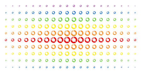 Pie chart icon rainbow colored halftone pattern. Vector pie chart items are arranged into halftone grid with vertical spectrum gradient. Constructed for backgrounds, covers,