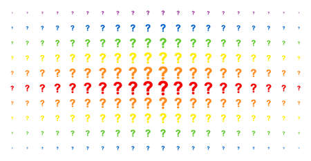 Question icon rainbow colored halftone pattern. Vector question items are arranged into halftone array with vertical spectrum gradient. Designed for backgrounds, covers,
