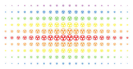 Radioactive icon rainbow colored halftone pattern. Vector radioactive symbols are arranged into halftone grid with vertical spectral gradient. Designed for backgrounds, covers,