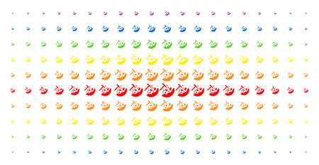 Rocks mining icon rainbow colored halftone pattern. Vector rocks mining pictograms are organized into halftone matrix with vertical rainbow colors gradient. Constructed for backgrounds, covers,
