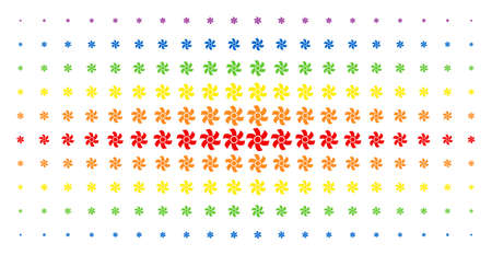 Rotor icon spectrum halftone pattern. Vector rotor symbols are arranged into halftone array with vertical spectrum gradient. Designed for backgrounds, covers, templates and abstraction compositions.
