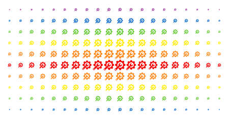 Service tools icon rainbow colored halftone pattern. Vector service tools symbols are arranged into halftone array with vertical spectrum gradient. Designed for backgrounds, covers,