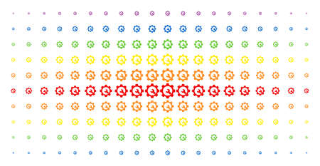 Service tools icon rainbow colored halftone pattern. Vector service tools objects are arranged into halftone grid with vertical spectral gradient. Designed for backgrounds, covers,